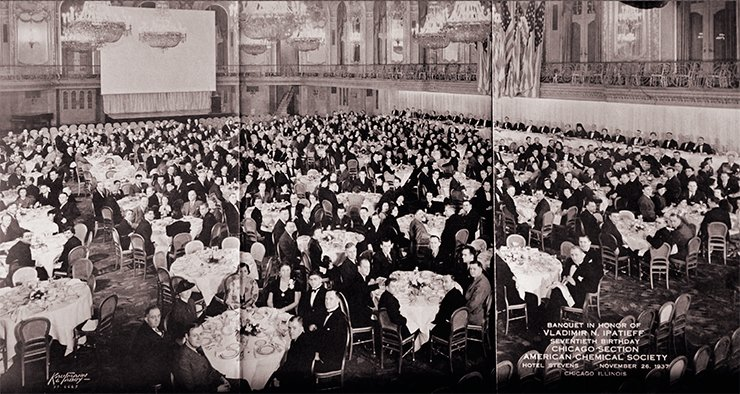 Banquet organized by the Chicago Section of the American Chemical Society in honor of Vladimir N. Ipatieff's 70th birthday at the Stevens Hotel (now Chicago Hilton). Chicago, United States, November 26, 1937. Photos from the archive of the Institute for Sustainability and Energy at Northwestern. Evanston, Illinois, United States