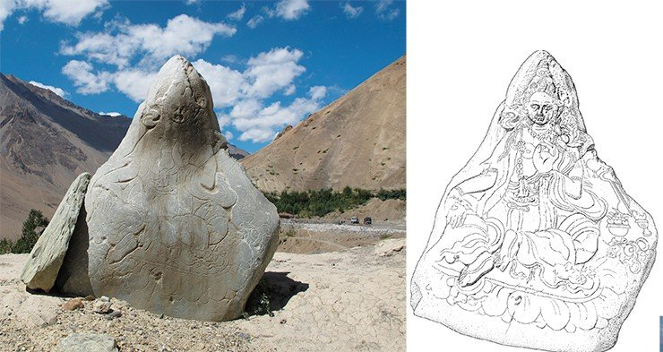 Stone with an image of the goddess Tara (left). A drawing of the image on the stone (right). Drawing by A. Saliev