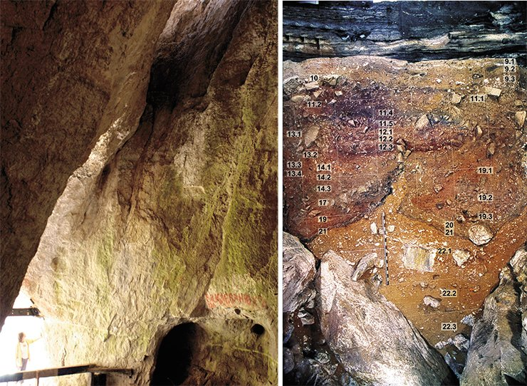 The high (about 10 meters) vaulted ceiling of the cave's central hall has a hole through which daylight falls. It used to be a good fume duct (left). There are 22 lithographic layers in the Denisova Cave deposits, 8 of which belong to the Holocene (from 11,000 years ago to modern time) and 14, to the Pleistocene (1.8 million — 11,000 years ago). The most ancient findings from the 22nd layer are 280,000 years old and refer to the early stage of the Middle Paleolithic. The bone remains of Homo sapiens altaiensis were discovered in the 11th layer (30,000—50,000 years ago), where typical Early Upper Paleolithic objects appear