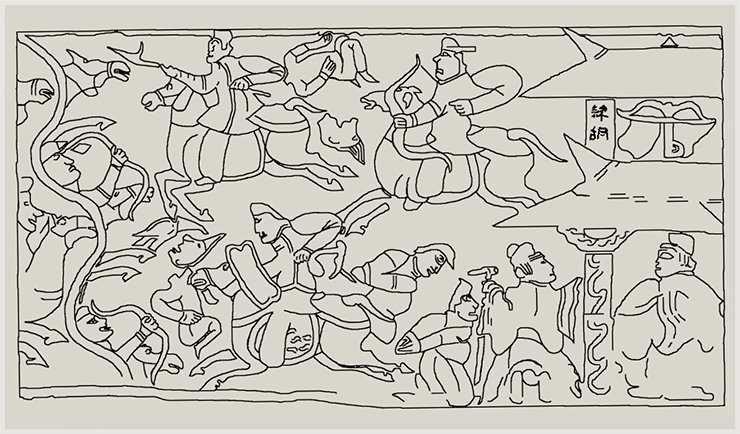 A detailed drawing of the Han relief depicting a battle between the Chinese and Barbarians