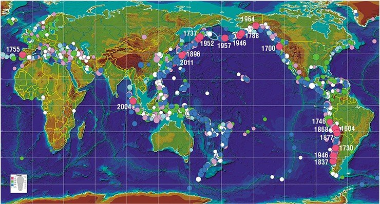 Map of tsunami foci that have arisen in the oceans over the past two millennia