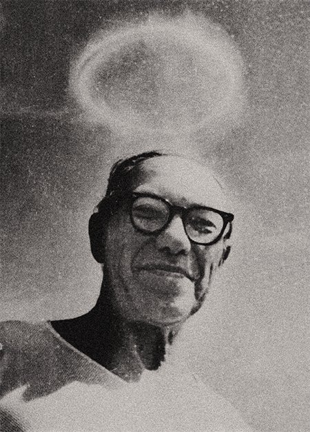 In this photo the object above Lavrentyev's head is not a halo, but a large vortex ring at a height of over two kilometers, which was formed by the explosion of three tons of gasoline sprayed in the air above the island in the Ob Sea. July 1966