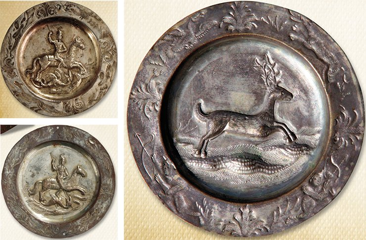 Left: saucers depicting St George. Right: a saucer depicting a deer, two hunters, a dog and a bird. 1830s