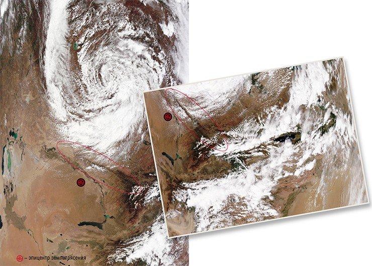 31 мая 2009 г. над Талассо-Ферганским разломом в Казахстане произошло размывание кучево-дождевой облачности в виде каньона. Слева – вращающаяся облачная спираль начинает наплывать на разлом, над которым формируется каньон. Справа – по мере того как облачная спираль наплывает на разлом, над ним все отчетливее проявляется каньон. Через полмесяца, 16 июня, вблизи разлома произошло землетрясение магнитудой 4,5. Фото сделаны с ИСЗ Terra и Aqua (NASA/GSFC, Rapid Response)