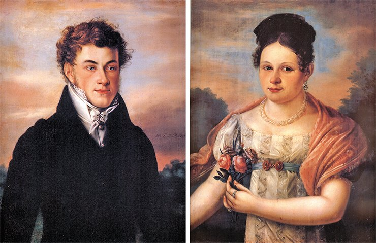 Portraits of V. N. Basnin – a representative of the fourth generation of the largest merchant dynasty of the 18th and 19th cc., a 1st class merchant, honorary citizen by birth, and the city mayor – and his wife Ye. O. Basnina. By M. A.Vasiliev, 1821, State Historical Museum (Moscow)