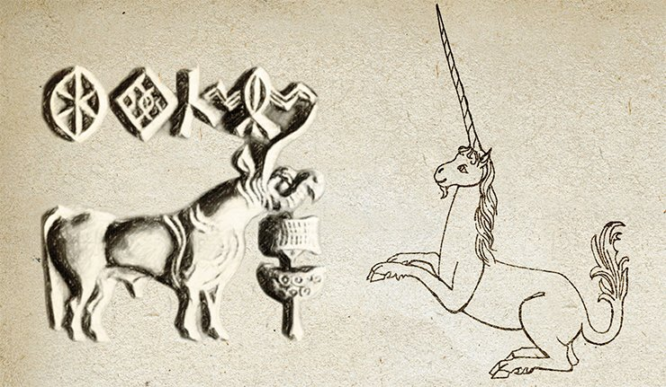 Left: indian unicorn. An imprint of a seal from the Indus valley. 3rd millennium BC. On right: unicorn from The Lady and the Unicorn tapestry. 15th c. Musée Cluny, Paris. Drawing