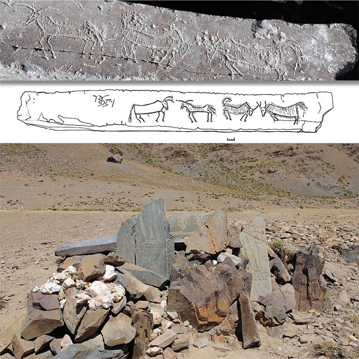 Abandoned and destroyed sanctuary. The village of Manda. Zanskar. Above: a fragment of the yak images cut in on the stone plate; below: a drawing of the images on the plate. Drawing by E. Shumakova
