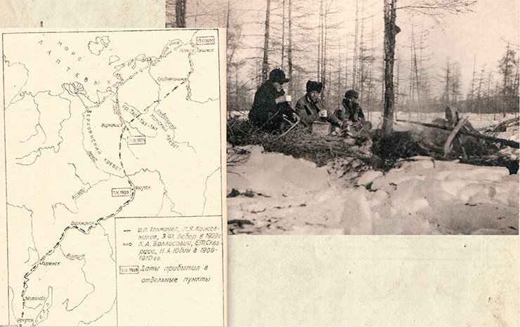 Left: routes of the parties of I. P. Tolmachoff and K. L. Vollosovich's Lena-Chukotka expedition (from Irkutsk to the Kolyma estuary). From: Danilin Ye. L. To unbeknown lands. Krasnoyarsk, 1998. On right: along the Kolyma tract. A stopover (Sedov, Tolmachoff, a Yakut coachman). Photo by G. Sedov. From: (Tolmachoff, 1911)