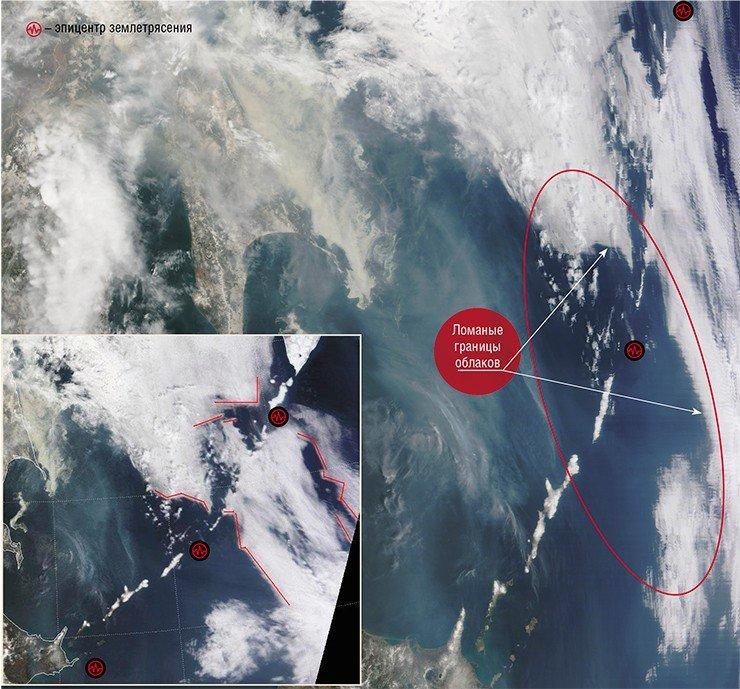 Формирование резких угловатых границ облачных массивов в северной части Курильских о-вов предшествовало землетрясениям на всей островной гряде (2 мая – на Курилах и 3 мая – вблизи о. Хоккайдо). Фото сделаны с ИСЗ Terra (NASA/GSFC, Rapid Response) 30 апреля 2009 г.