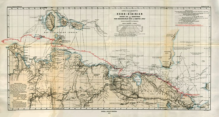 Map of Northern Siberia. The red line between the Lena River and the Bering Strait marks the route of the Vega expedition by Nils Adolf Erik Nordenskiöld. Bearb. und geseichnet B. Hassenstein. – 1: 3 000 000. – Gotha: J. Perthes, 1879. (Tafel 17). Library of the Russian Academy of Sciences, St. Petersburg