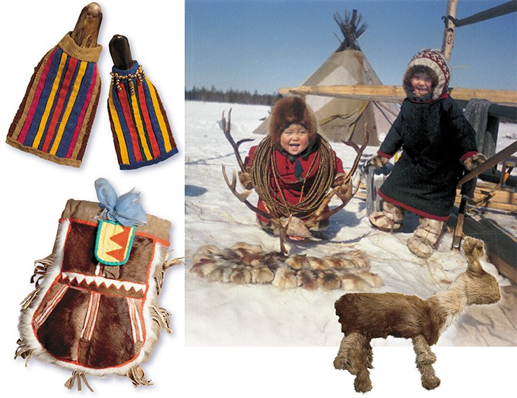 Traditional dolls made of a bird's beaks (top, left). Reindeer game (right). The Niby-Yakha camp. Children's needlework bag (bottom, left). Fur toy (a reindeer calf)