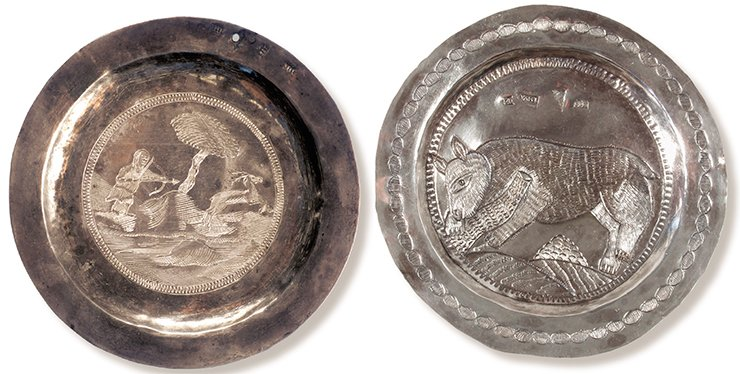 "A saucer depicting a deer-hunting scene (left). Tobolsk, 1797. Silver, 12.4 cm in diameter. Hallmarks: the coat of arms of Tobolsk; ""1797 / M•..."" (the second letter removed), the assay's mark by M. Bogdanov; П•Б (cyr.) (two). Museum in the village of Saranpul. A saucer depicting a bear. Tobolsk, 1820. Silver, 10.4 cm in diameter. Hallmarks: the coat of arms of Tobolsk; ""... M / 1820,"" the assay's mark by M. Bogdanov; P•B (cyr.); 84 silver mark. Museum of the Institute of Archaeology and Ethnography SB RAS (Novosibirsk)"