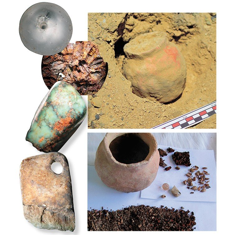 The little vessel discovered near the stone with an image of Tara, in situ. Below: the vessel and its contents: a bead of rock crystal, turquoise insert, metal plate (decoration), and bone suspension. Photo by L. Kundo