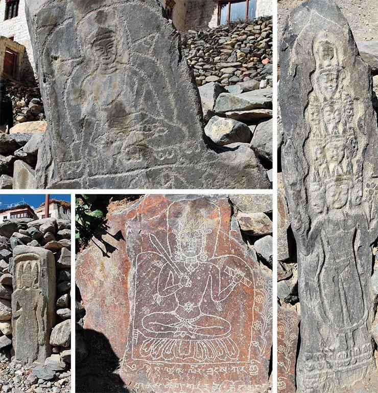 Плиты с изображениями буддийских божеств: божество в короне, Манжушри с мечом и книгой. Будда (слева вверху) и одиннадцатиголовый Авалокитешвара (справа). Деревня Кончет. Занскар