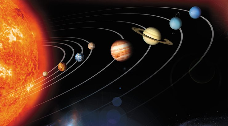 The Solar System model shows the four inner terrestrial planets—Mercury, Venus, the Earth, and Mars—and the four outer planets—Jupiter, Saturn, Uranus, and Neptune. In contrast to these gas giants of hydrogen and helium, the terrestrial planets are made of oxygen, silicon, iron, and other heavy elements. Credit: NASA/JPL