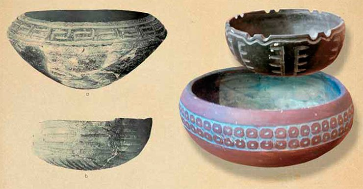 Below: Valdivia pottery, early period. Photo by the courtesy of A. Popov. Left: Jomon pottery. The jar shapes are characteristic of Valdivia culture. B. J. Meggers, C. Evans, and E. Estrada, Early Formative Period of Coastal Ecuador: The Valdivia and Machalilla Phases, Washington: Smithsonian Institution, 1965