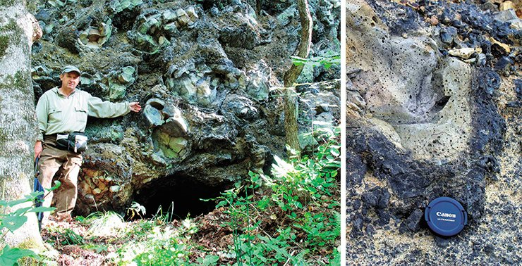 Left: the formation of the present drainage network on the Shkotovo plateau started after a large-scale eruption of blanket basalts 12–13 Ma BP. Erosion on river valley edges constantly exposes effused rocks (pillow lavas and hyaloclastites), the main provenance of basalt obsidians. These rocks form steep benches. On right: in the Amur region, the Uril–Mutnaya interfluve, the basaltic cover remains only on divide ridges. One of primary outcrops of pillow lavas and hyaloclastites was exposed by the construction of the Amur motor way