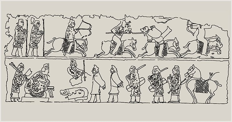 The paintings of the Han and Barbarian wars. The Barbarians are always conquered. A detailed drawing from the Han bas-relief