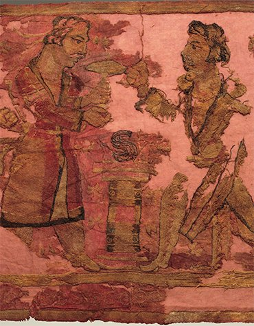 "To the left of the altar is the king (priest), who is holding a mushroom over the fire. Opposite him is a warrior in a jacket with a ""tail"" and a belted quiver"