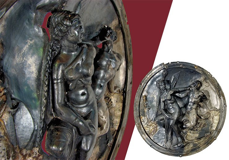 The image of a woman on the plate from the Xiongnu mound bears an evident resemblance to the statue of Venus de Milo and the head of Aphrodite from Pergamum, outstanding Hellenistic monuments of Greek art (2nd century B.C.). Probably these images reflect the ideal female image of a new era