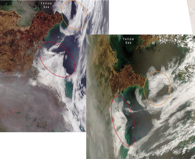 The launch of short-range nuclear missiles from the western shore of Korean Peninsula caused an activation of the sea bottom faults, which were reflected on the cloud masses as anomalously linear edges (above). To the right – though the atmospheric clouds have changed their position, the existing anomalies remain. The photos taken from satellites Terra and Aqua (NASA/GSFC, Rapid Response) on May, 29, 2007