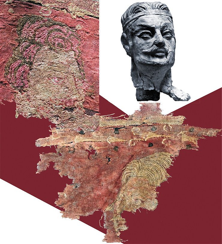 There are only two fragments of the carpet on which outlines of male faces can be distinguished. The first shows the face of a man with voluminous red curls (similar to the images on the coins minted by Parthian kings), a straight nose, big eyes and a high forehead (on the left). It reminds of the depiction on a painting fragment of the Old Nice Tower (Pilipko, 2010) and the male face on the mural painting in Kukh-i-Khvadzha (Schlumberger, 1970). The second fragment displays a different facial type: straight fair hair is parted in the middle, almost up to the top; a retreating forehead; long fair eyebrows and a mustache (below). This face resembles, to a certain degree, the face of the clay sculpture from the Khalchayan palace (above, right), depicting a man from the Geraichi kings' family, presumed to be founders of the Kushan empire (Pugachenkova, 1979)