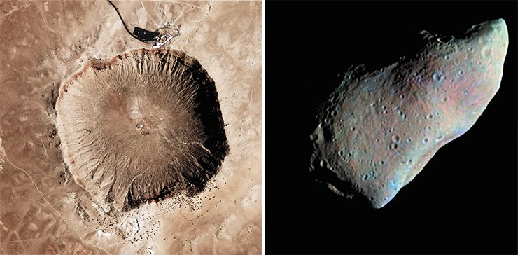 Meteorites (literally, celestial stones) are fragments of celestial bodies – asteroids and comets – that fell on Earth. The impact of an extraterrestrial body of 10–20 meter size forms an impact-explosion meteorite crater. Left: Barringer (or Arizona) Crater, 180 m in depth, formed by the impact of a 50-meter meteorite. A view from ISS. Right: Asteroid 951 Gaspra, 19 km in length. Image from NASA's Galileo spacecraft, 1991. Credit: NASA/USGS