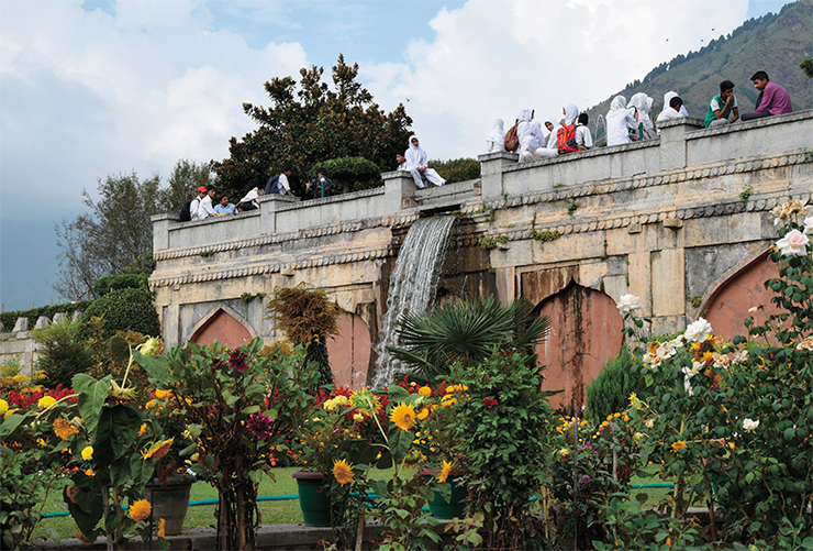 Today, little has remained of the old Srinagar. Among these remnants are the famous Mughal gardens, a real paradise on the Earth, created by man. Shalimar Bagh, a most beautiful garden above Lake Dal, was created in 1616–1619 by Emperor Jahangir for his wife Nur Jahan. At the center of the garden lies a pond with a pavilion of black marble at its center, surrounded by fountains. The garden is situated on three terraces: in ancient times, commoners were allowed only on the first terrace; the second one was for the emperor's guests; and the third one was for the harem. Today, the Mughal gardens of Srinagar are the favorite place for the city residents at any time of the year