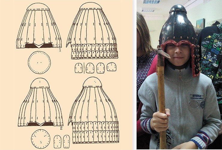 Helmet from the Laoheshen burial (China). Drawing by V. Gorbunov. Adapted from: (Gorbunov, 2005). Photo by A. Gribakin