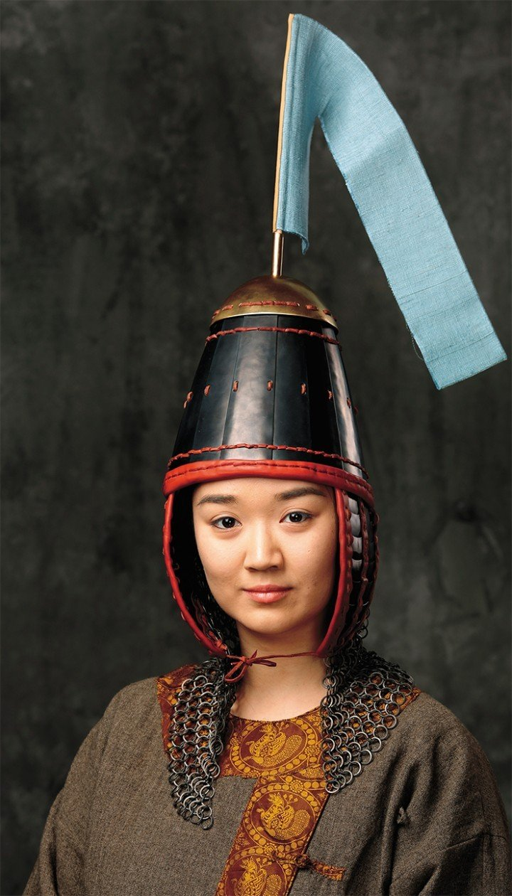 Scholarly historical reconstruction of the helmet of a 3rd–5th century Kenkol warrior, based on the images of warriors in the frescoes of East Turkestan and the finds of helmet details with a similar structure in adjacent areas. Photo by A. Bolzhurov