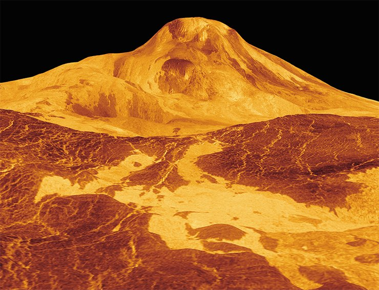 A three-dimensional model of Maat Mons, the highest volcano on Venus, with a height of more than 8 km above the planet's surface. Credit: NASA/JPL