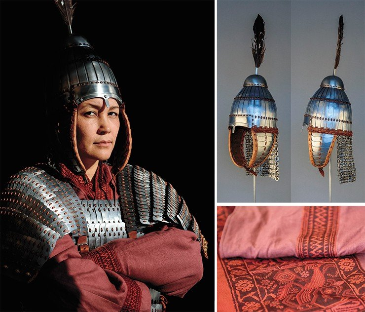 Scholarly historical reconstruction of the helmet and armor of an Avar (Rouran) warrior of the 6th to early 7th century, based on an accidental find of an intact helmet in the Khomutovka district (Kursk region, Russia). Reconstruction of Mongolian-time clothing (around the 13th century), based on graphic historical sources. Photo by S. Borisenko