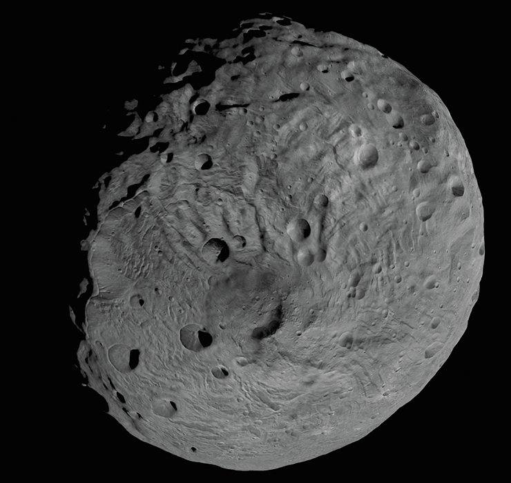 Image of Diona (563×561×560 km), one of the large innermost moons of Saturn. Image from Cassini–Huygens spacecraft (ESA–NASA), 2006. Credit: NASA/JPL/Space Science Institute