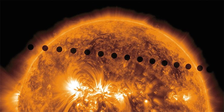 When Venus is exactly between the Sun and the Earth, one can observe a transit of Venus, a rare astronomical phenomenon resembling, in some way, a solar eclipse: Venus passes across the solar disk as a small black spot. Credit: NASA