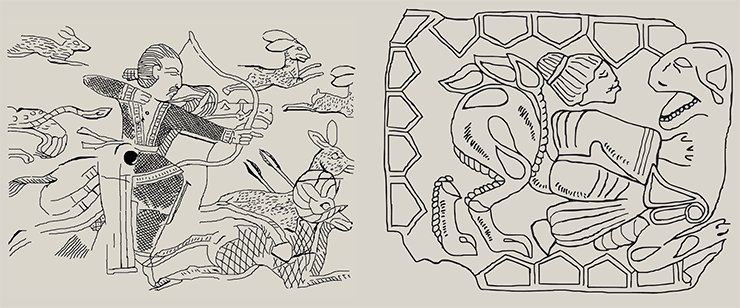 Left: a detailed drawing on the ebony plate from Takhti Sangin, an ancient settlement located in Southern Tajikistan. B. A. Litvinskiy supposes that the images reflect the actual life of the hunters who belonged to the Bactrian aristocracy. They appeared under the influence of Sassanid iconography and date back from the 3rd c. A. D. (Litvinskiy, 2010). The other opinions about the dating of these articles also exist. For example, G. A. Pugachenkova gives evidence suggesting that they date from within two or three decades before or after the beginning of A.D. (Pugachenkova, 1989). It seems that the discovered horseman embroidered on silk can serve as a proof of the suggested hypothesis; this find is from the reliably dated Noin Ula burial mound 20. (Chistyakova, 2009; Minyaev et al., 2010). On right: A detailed drawing of a metal plate from Kochkovatka (an accidental find). It shows a Mongoloid man and a feline predator . The animal's head is turned in the direction of the man. The man is dressed in a belted shirt, with the sleeves widening towards the bottom. The man's hair is combed back and gathered in a bun at the back. His haircut can be compared to the Buddhist portraits of Gandhara. The image is dated to 1st c. B. C.—1st c. A. D. (Mordvintseva, 2003)