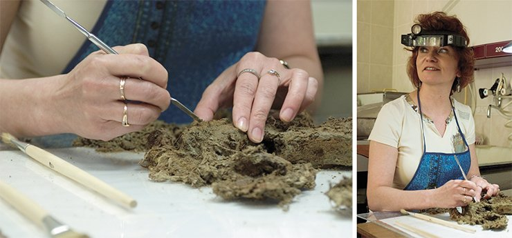 M. V. Moroz, a fine art restorer with the Museum Studies Department of the Institute of Archaeology and Ethnography SB RAS, is engaged in near work: she is removing clay particles from fragments of the cloth