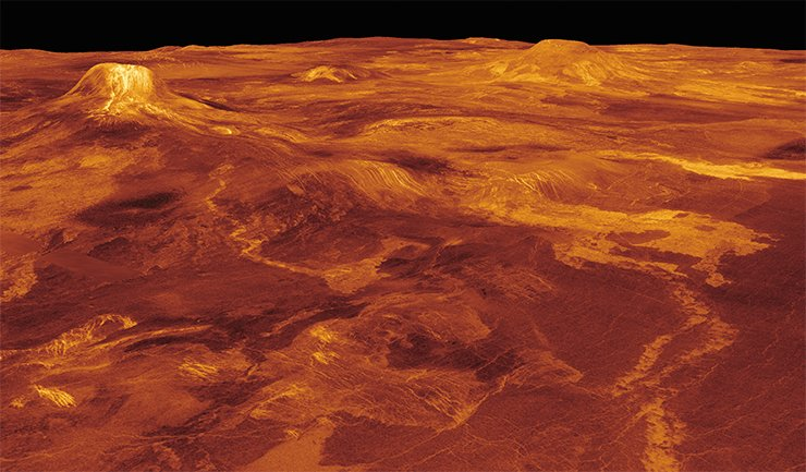 This three-dimensional model of the western Eistla Regio region in the equatorial part of Venus shows frozen lava flows stretching hundreds of kilometers with a distinct view of the volcanoes Gula Mons and Sif Mons. Credit: NASA/JPL