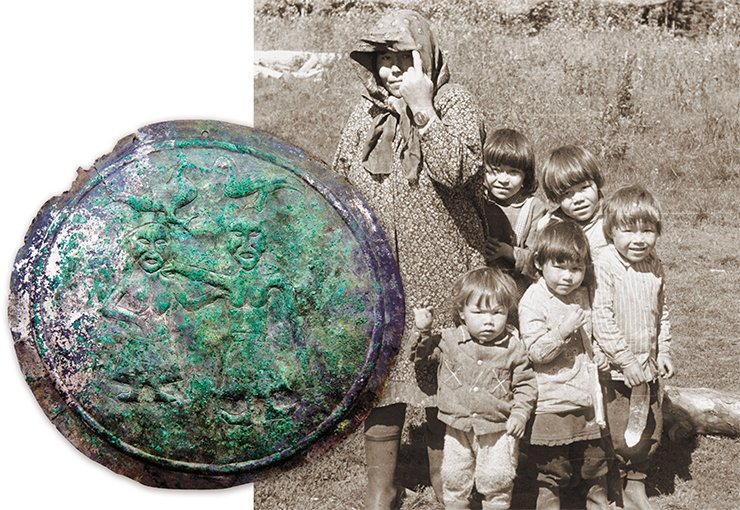 Copper tinned badge depicting a family scene. Private collection. The Mansi who live in the village of Turvat-Paul, 1990. Photo by A. Baulo