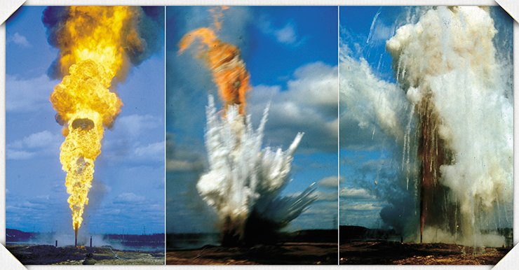 Episodes in the vortex–powder extinguishing of an oil flame consuming 6,000 tons of fuel a day. It took only 6 kg of explosives and 500 kg of fire extinguishing powder to suppress this fire