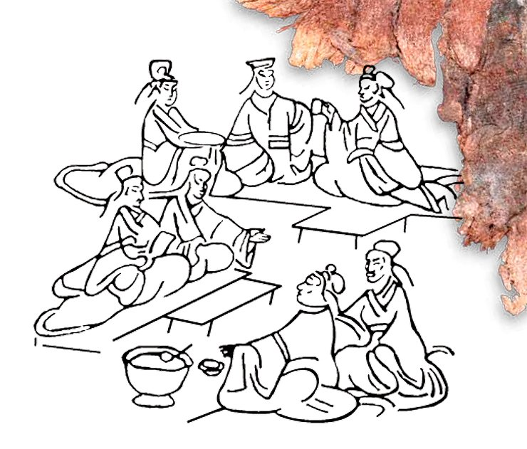 A scene of a feast. Drawing of a Han relief