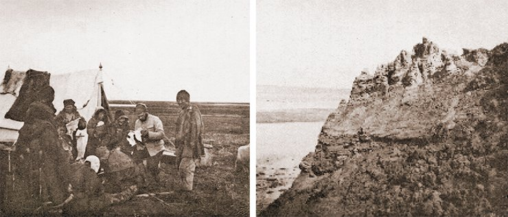 M. Ya. Kozhevnikov trading with the Chukchi (left). Post-Pliocene sands on the ocean shore, to the west of the Bolshaya River (right). Photo by I. Tolmachoff. From: (Tolmachoff, 1911)