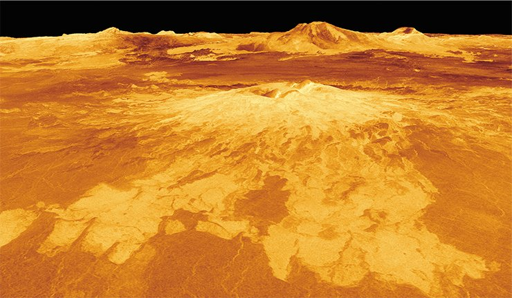 The mountain Sapas Mons with a double summit is one of the most spectacular volcanoes on Venus with a base about 400 km in diameter. The mountain is crowned by two craters, and its slopes are covered with intertwining frozen lava flows, some of which may have formed earlier than the summits. Credit: NASA/JPL