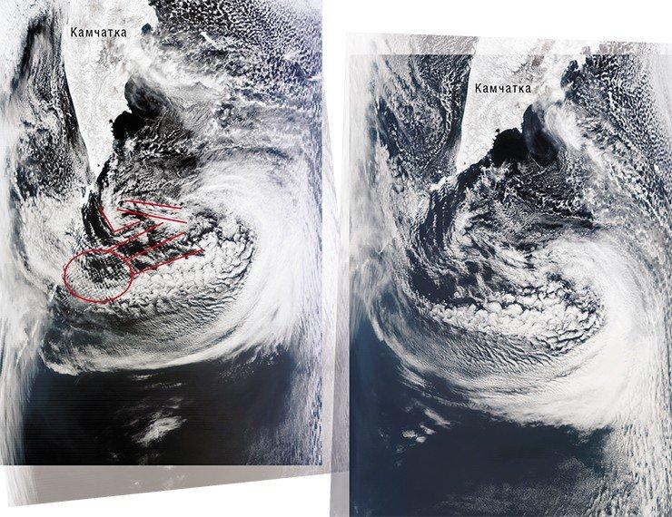 «Сетчатые» облака, образовавшиеся вблизи северной части Курильской гряды после землетрясения в Японии, свидетельствовали о сохранении сейсмической активности в регионе (слева). И действительно, хотя через полтора часа вместо этой «сетки» остались только облачные полосы широтной ориентации (справа), на протяжении последующих 3 суток подземные толчки продолжались. Фото сделаны с ИСЗ Terra и Aqua (NASA/GSFC, Rapid Response) 11 марта 2011 г.