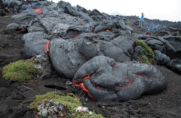 A pahoehoe-type lava stream with undulate surface