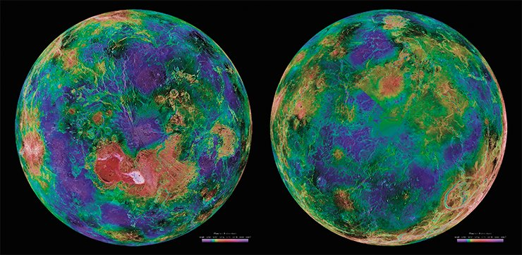 These views of the northern and southern hemispheres of Venus are a mosaic of images taken over a decade of radar satellite and ground-based research. Credit: NASA/JPL/USGS