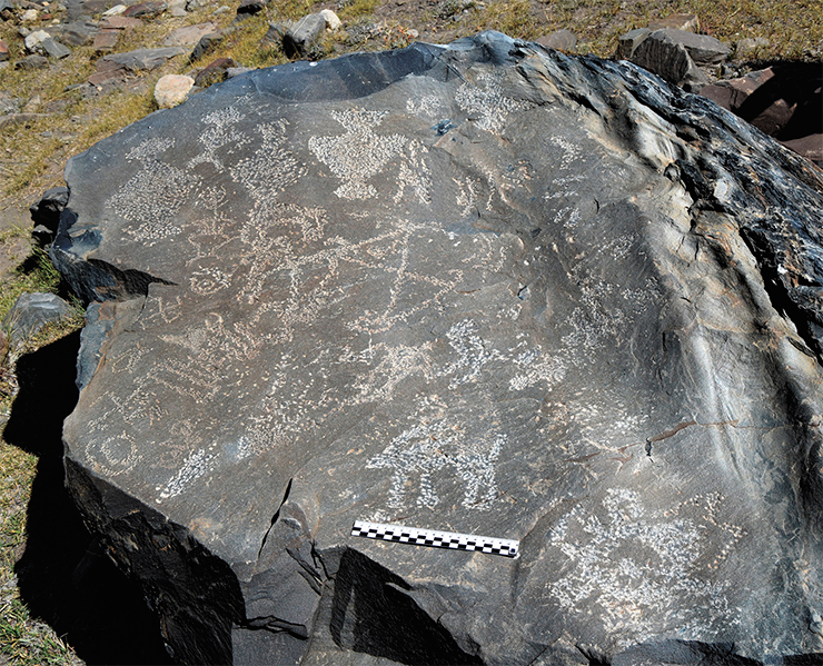 Akshow petroglyphs. This stone bears an imprint of an entire set of five precious vessels in different sizes, one of which contains a flower intended to enhance its beneficial effect. Near the vessels there are images of right and left swastikas, stupas, solar symbols, and ibexes in all possible embodiments. Zanskar, 2019