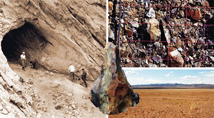 "Left: the Tsagan-Agui cave in Gobi Altai is among the few well-dated Mongolian archaeological monuments; it contains the remains of the cultures of all Paleolithic stages and of later epochs. For 300,000 years, the unique Flint Valley in the desolate Gobi Desert served as a workshop for ancient stone craftsmen. There, at the outcrop of large siliceous breccias, there is a true ""store field"" of stone tools, over 20 square meters in area, where tens and hundreds of millions of tools are found – up to 600 per square meter!"