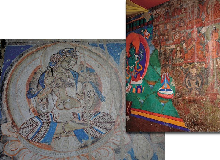 Right: new and ancient paintings on the wall of the prayer hall in the Karsh Monastery. Below: Goddess with offerings, a fragment of the paintings in a chorten in Zangla (formerly a small principality in Zanskar)