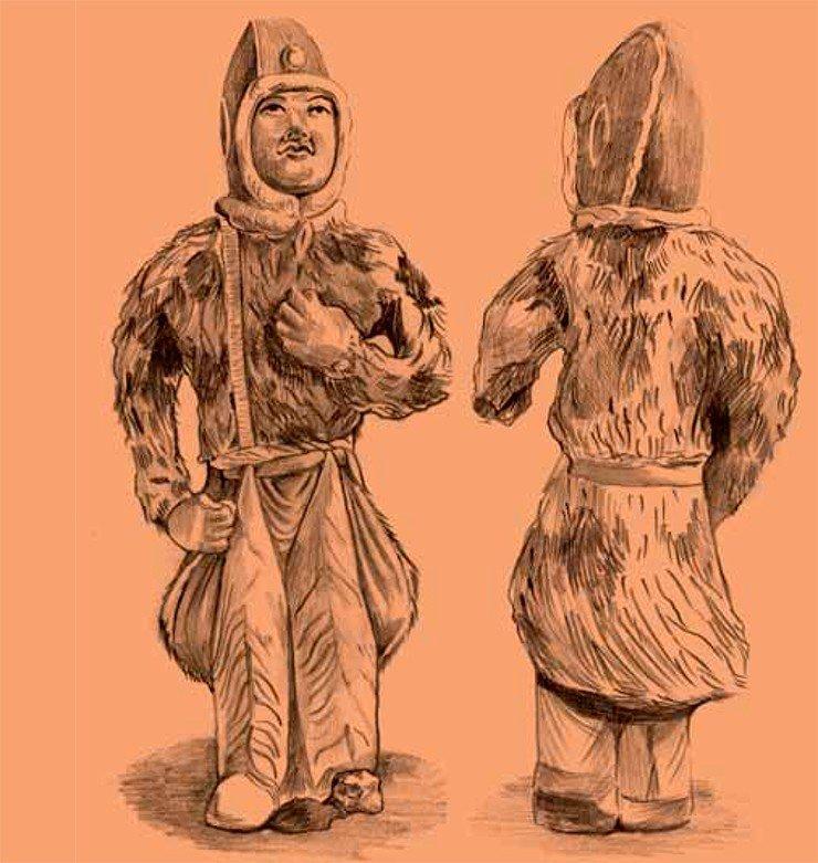 В погребальном комплексе танского времени (cередина VII в.), раскопанном в округе Сяньюань провинции Шаньси, была обнаружена глиняная фигурка всадника высотой 26 см. На ней хорошо видны ноговицы, крепящиеся к?поясу, раскрашенные узором, копирующим тигровую шкуру. Полы меховой шубы также заправлены за пояс. В этом скульптурном изображении передан образ чужестранца, одетого в необычные для Китая костюмы. Прорисовка Е. Шумаковой