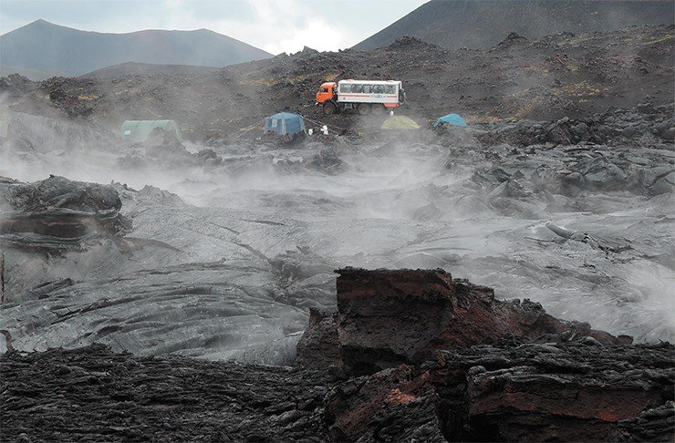 The geophysicists' camp on a still-warm lava field. August 2014